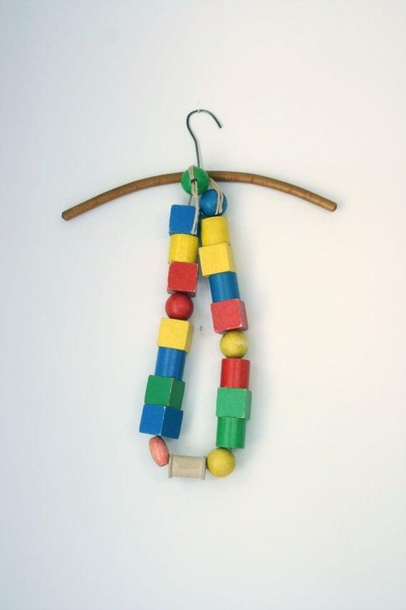 Vintage wooden stringing beads
