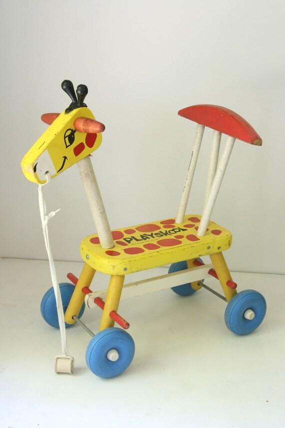 VTG Playskool wooden ride on giraffe 1966