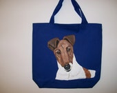 Reuseable shopping tote with hand painted Fox Terrier(smooth coat)