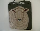 Welcome Slate with a sheep