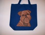 Reuseable canvas tote with a Brussels Griffon