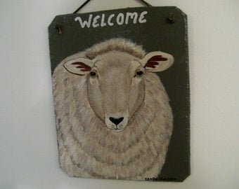 Welcome Slate with a sheep