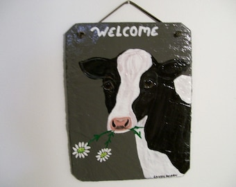 Holstein Cow Welcome Slate