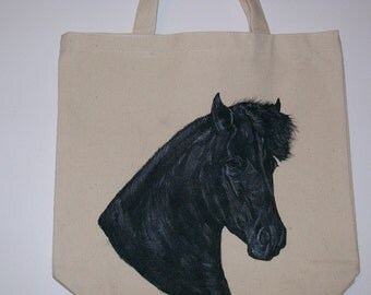 Reuseable Canvas tote with a Black Horse