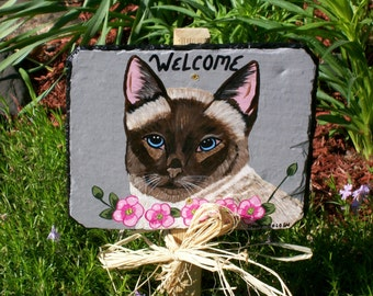 Siamese Seal Point Cat Garden Welcome Slate