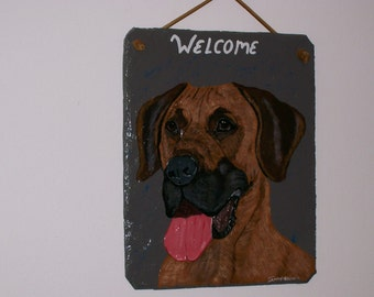 Great Dane (brown) Dog Welcome Slate