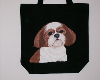 Reuseable canvas tote with a Brown and whiite Shih Tzu