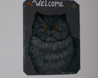 Persian Cat Welcome Slate