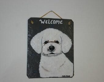Bichon Puppy Welcome Slate