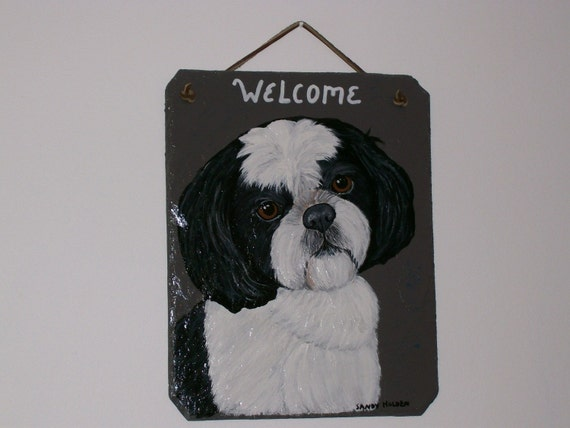 Shih Tzu (black and white) Welcome Slate