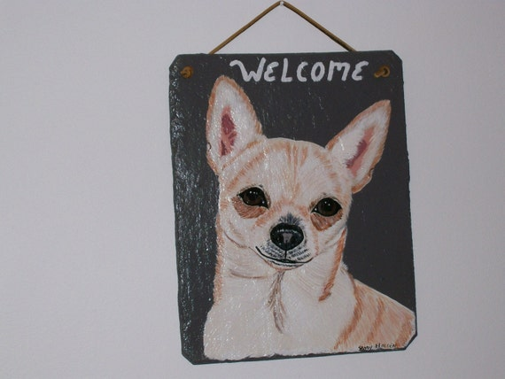 Chihuahua (lt tan) Welcome Slate
