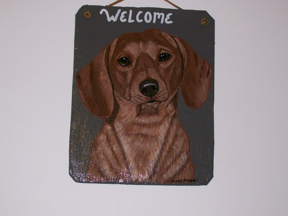 Brown Dachshund no.2 (smooth coat) Welcome Slate