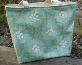 Mara Tote in Amy Butler August Fields Fabric. Coreopsis Spruce