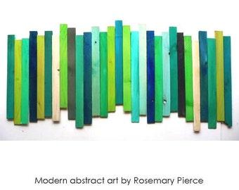 Reclaimed Wood Art | Wood Wall Sculpture | Wood Wall Decor | Original Custom Art | Blue Green Wall Art | Modern 3D Art | Rosemary Pierce