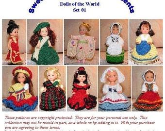 Crochet Pattern - 4.5 inch Kelly - Dolls of the World set 1