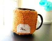 Tea Mug Cozy Pumpkin Organic Cotton Chai Cup Cosy - READY TO SHIP