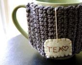 Tea Coffee Mug Cozy - Custom Wording - Grey Cosy