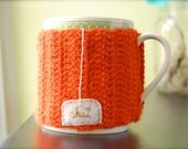Chai Love Mug Cozy Burnt Orange Crocheted Tea Cup Cozy - Made to Order