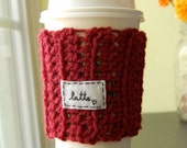 Personalized Coffee Cup Take Out  Cozy - Cranberry Red Crocheted Cosy