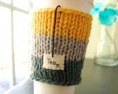 Tea Love Paper Cup Cozy - Take Out Sleeve in Yellow Grey Green