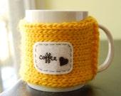 Coffee Love Mug Cozy - Sunshine Yellow Knitted Tea Cosy Made to Order