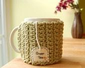 Green Tea Love Mug Cozy Crochet Heart Cup Cosy