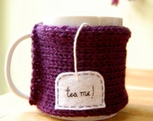 Tea Me Mug Cozy Knitted Purple Chai Cup Cosy - Ready to Ship