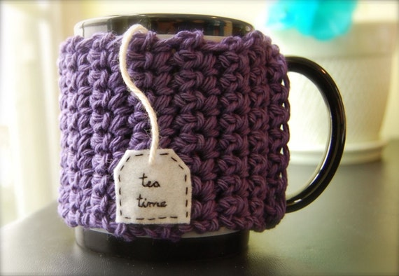 Personalized Tea Coffee Mug Cozy - Mauve Purple Crocheted Cup Cosy