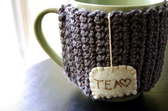 Tea Mug Cozy Grey Crocheted Chai Cup Cosy - Ready to Ship