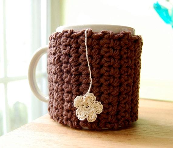 Flower Tea Mug Cozy Brown Crocheted Cup Cosy