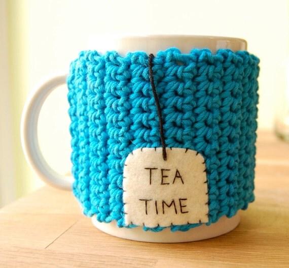 TEA TIME Mug Cozy Crocheted Sea Blue Cup Cosy