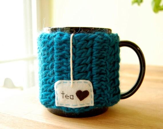 Personalized Tea Love Mug Cozy Crochet Teal Blue Cup Cosy