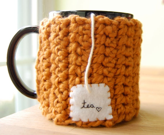 Personalized Tea Love Mug Cozy Pumpkin Organic Cotton Chai Cup Cosy - Made to Order