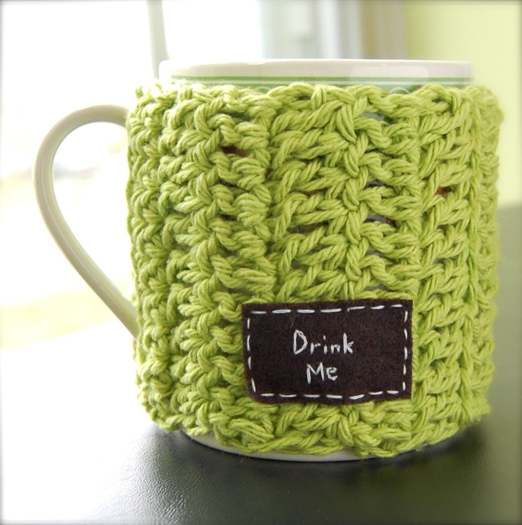 Drink Me Coffee Mug Cozy Crochet Green Tea Cup Cosy by KnitStorm