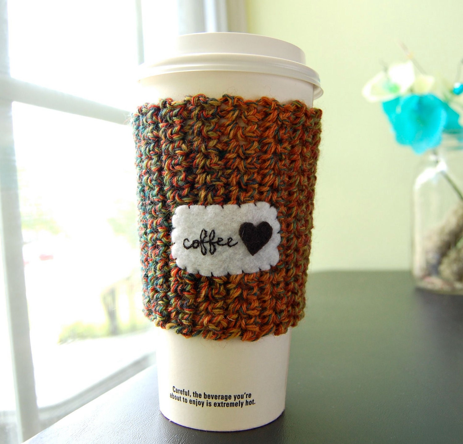 Coffee Cup Cozy Crocheted Paper Cup Cosy