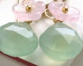 LAST PAIR - Blossom Earrings , Green Chalcedony Briolette and Glass Flower in 14k gold fill