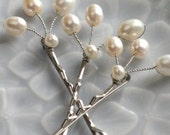 Freshwater Pearl Bobby pins in silver, Pearl Hairpins, White Pearl Bobby Pins, Bridal Hair Accessory, Bridal Bobby Pins, Wedding Accessory