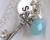 Open Your Heart Necklace -  Key Charm, Amazonite Briolette and Hand Stamped Charm in Sterling silver