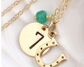 Lucky Number Horseshoe Necklace Custom Number Horse Shoe & Birthstone Charm Necklace Good Luck Charm Personalized Jewelry Horse Lover