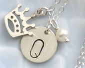 Queenie Necklace - Initial Tag, Crown Charm and Pearl in Sterling Silver Benefits Home At Last Dog Rescue - ShopSomethingBlue