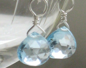 Blue Topaz Earrings • Blue Gemstone Drops • Petite Earrings • Light Blue Gemstones • November Birthday Gift • Bridesmaid Gift • Gem Drops