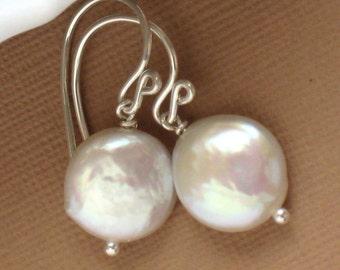 Coin Pearl Earrings Pearl Drop Earrings Classic Pearls Petite Coin Pearl Bridesmaid Gift June Birthday Classic Pearl Drop Earrings Pearls