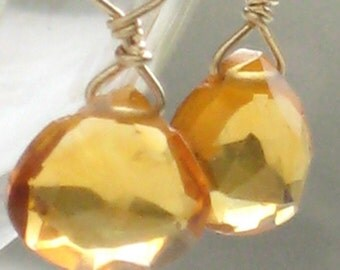 Yellow Citrine Earrings Golden Citrine Briolettes Micro Petite Simple Tiny Dangle Earrings Yellow Gemstone Drops Summer Gems Briolette Drop