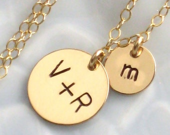 Family Initials Necklace • Stamped Disc Charms • Baby Makes 3 • Personalized Mother's Necklace • Custom Mother's Jewelry • New Mom Jewelry
