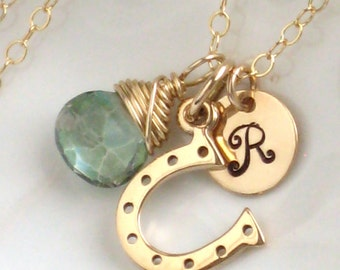 Horseshoe & Gemstone Necklace • Initial • Lucky Charm • Custom Color • Personalized • Equestrian • Horse Lover Gift • Horse Rider