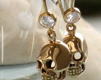 Skull Earrings Skulls on CZ Ear Wires Calaveras Goth Earrings Skeleton Jewelry Dia De Los Muertos Jewelry Three Dimensional Skull