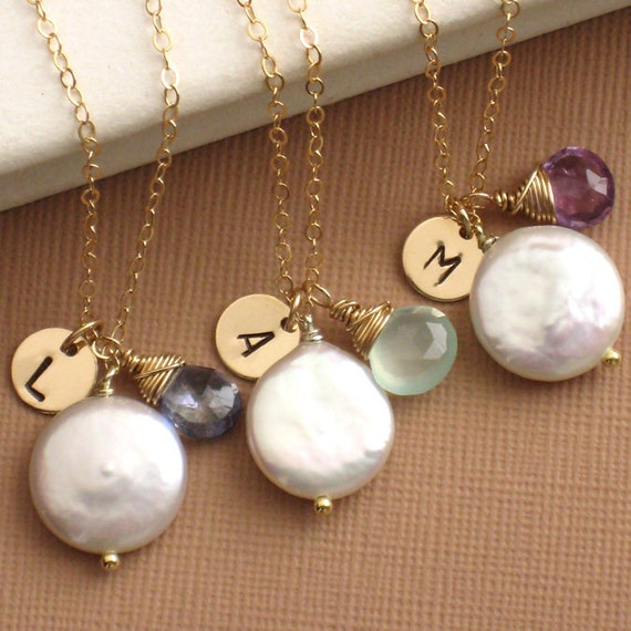 Bridesmaid Gift Set - 8 Finesse Necklaces - Coin Pearl with Amethyst Briolette and Hand Stamped Initial Tag in 14k Gold Fill