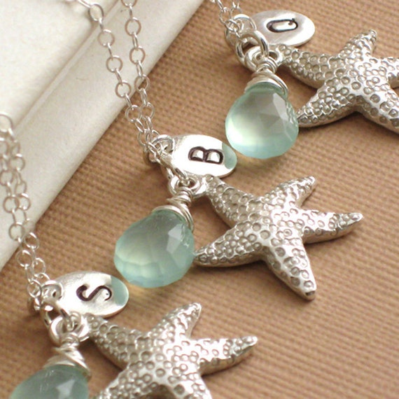 RESERVED Bridesmaid Gift Set - 5 Coastal Necklaces with Starfish Charm, Peridot and Initial Tag in Sterling Silver