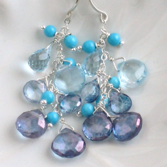 Blue Ombre Earrings - Blue Mystic Quartz, Blue Topaz, and Turquoise in Sterling Silver, Limited Edition