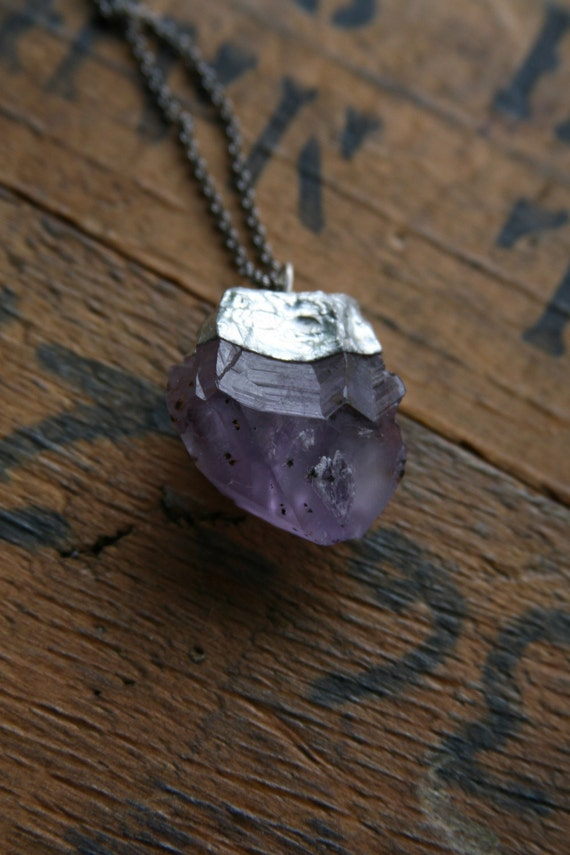 Raw Amethyst Pendant // Healing Crystal Necklace